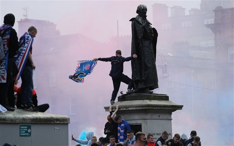 Image for Loyal Ibrox thugs trash Queen Victoria statue in George Square!
